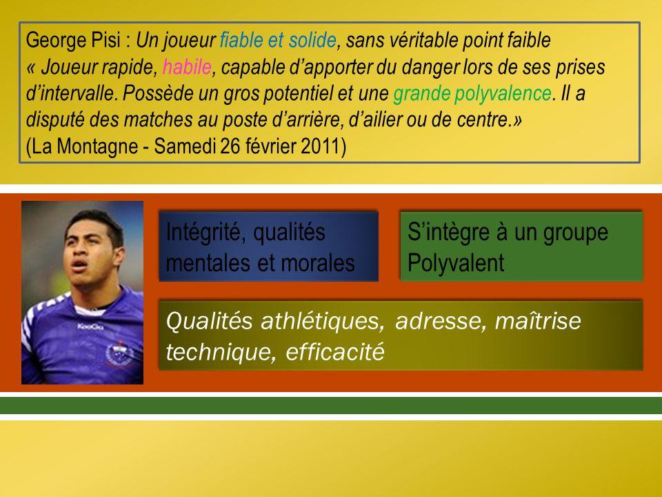 George Pisi : Un joueur fiable et solide, sans véritable point faible « Joueur rapide, habile, capable dapporter du danger lors de ses prises dinterva