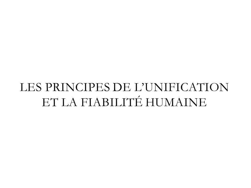 LES PRINCIPES DE LUNIFICATION ET LA FIABILITÉ HUMAINE