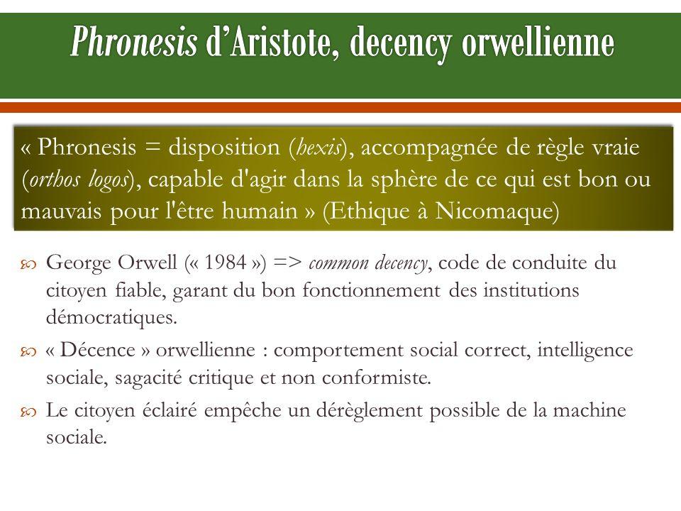 George Orwell (« 1984 ») => common decency, code de conduite du citoyen fiable, garant du bon fonctionnement des institutions démocratiques. « Décence