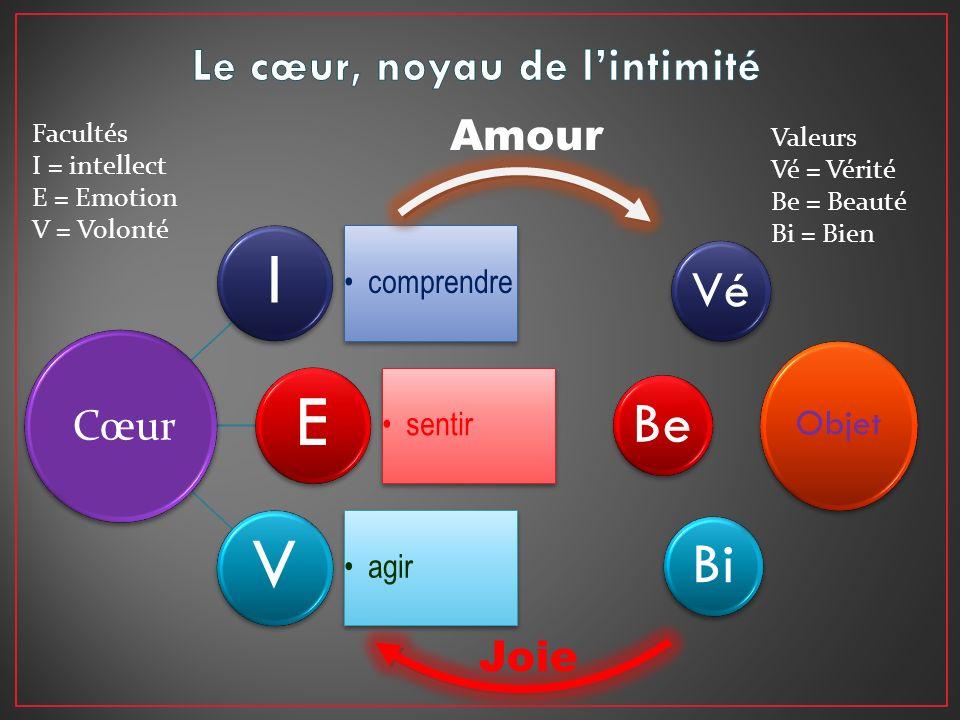 I comprendre E sentir V agir Objet Cœur Vé BeBi Amour Joie Facultés I = intellect E = Emotion V = Volonté Valeurs Vé = Vérité Be = Beauté Bi = Bien