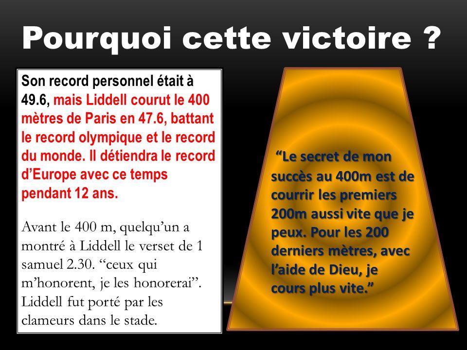 Son record personnel était à 49.6, mais Liddell courut le 400 mètres de Paris en 47.6, battant le record olympique et le record du monde. Il détiendra