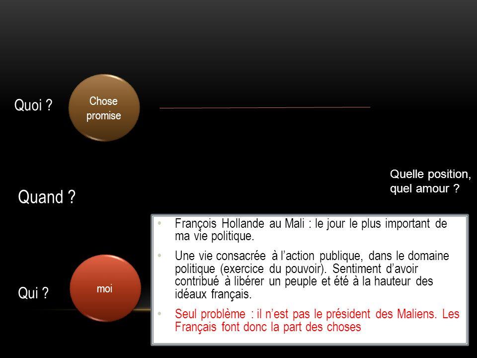 moi Chose promise Quelle position, quel amour ? François Hollande au Mali : le jour le plus important de ma vie politique. Une vie consacrée à laction