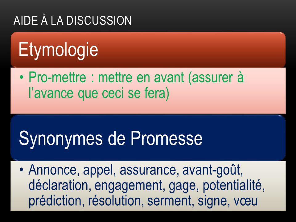 AIDE À LA DISCUSSION Etymologie Pro-mettre : mettre en avant (assurer à lavance que ceci se fera) Synonymes de Promesse Annonce, appel, assurance, ava