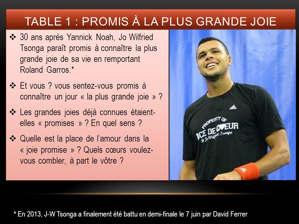 TABLE 1 : PROMIS À LA PLUS GRANDE JOIE 30 ans après Yannick Noah, Jo Wilfried Tsonga paraît promis à connaître la plus grande joie de sa vie en rempor