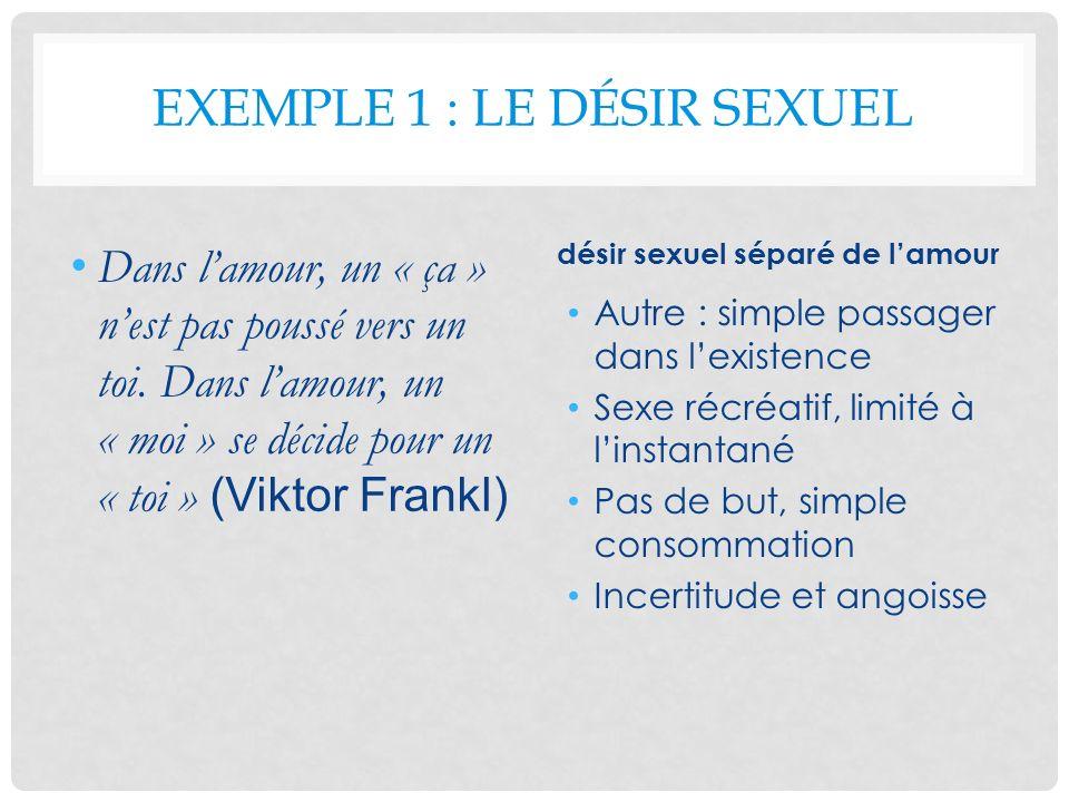 EXEMPLE 1 : LE DÉSIR SEXUEL Dans lamour, un « ça » nest pas poussé vers un toi. Dans lamour, un « moi » se décide pour un « toi » (Viktor Frankl) dési
