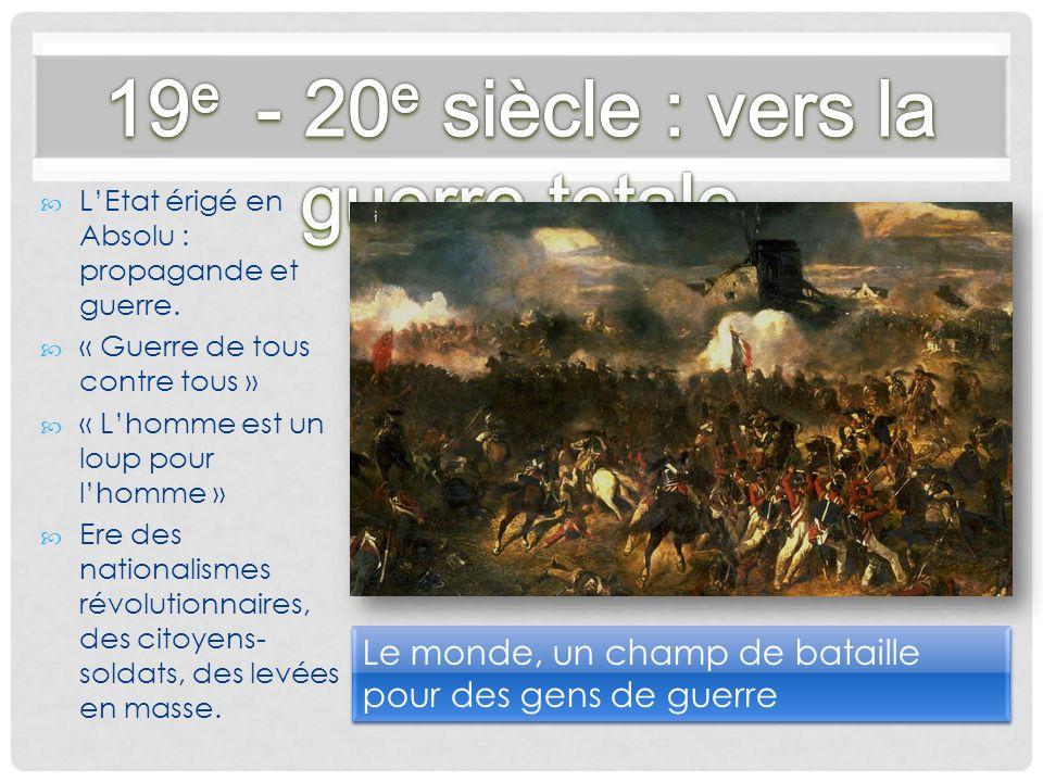 LEtat érigé en Absolu : propagande et guerre. « Guerre de tous contre tous » « Lhomme est un loup pour lhomme » Ere des nationalismes révolutionnaires