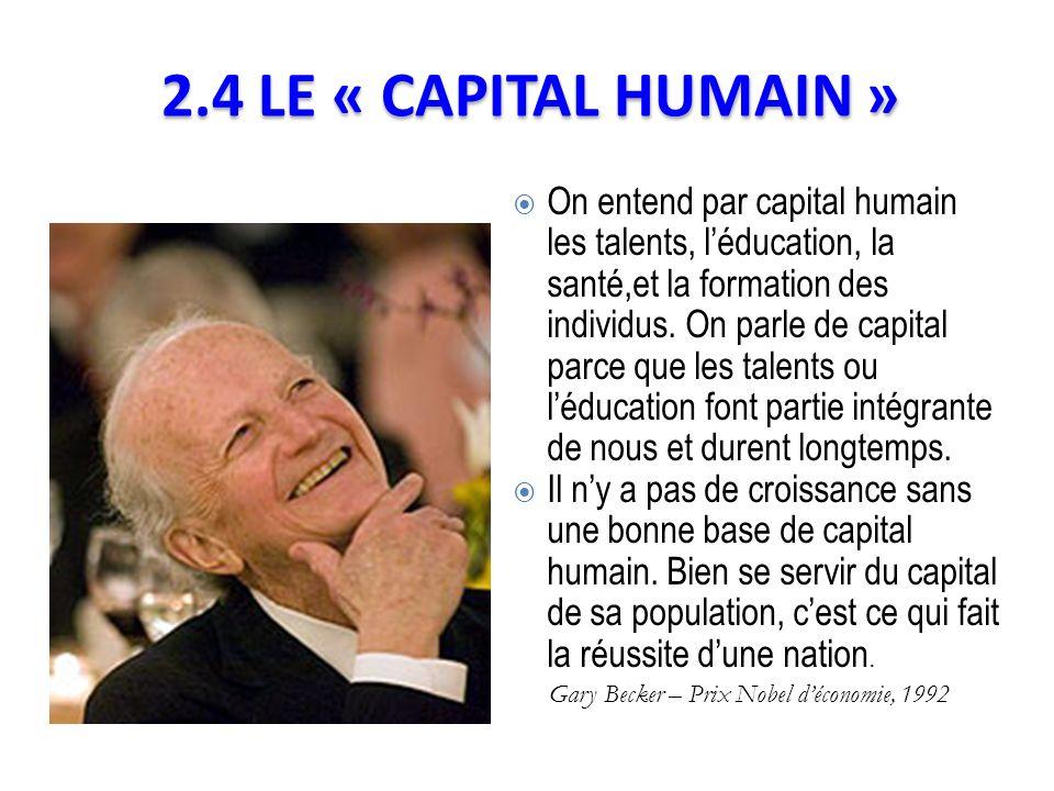 On entend par capital humain les talents, léducation, la santé,et la formation des individus. On parle de capital parce que les talents ou léducation
