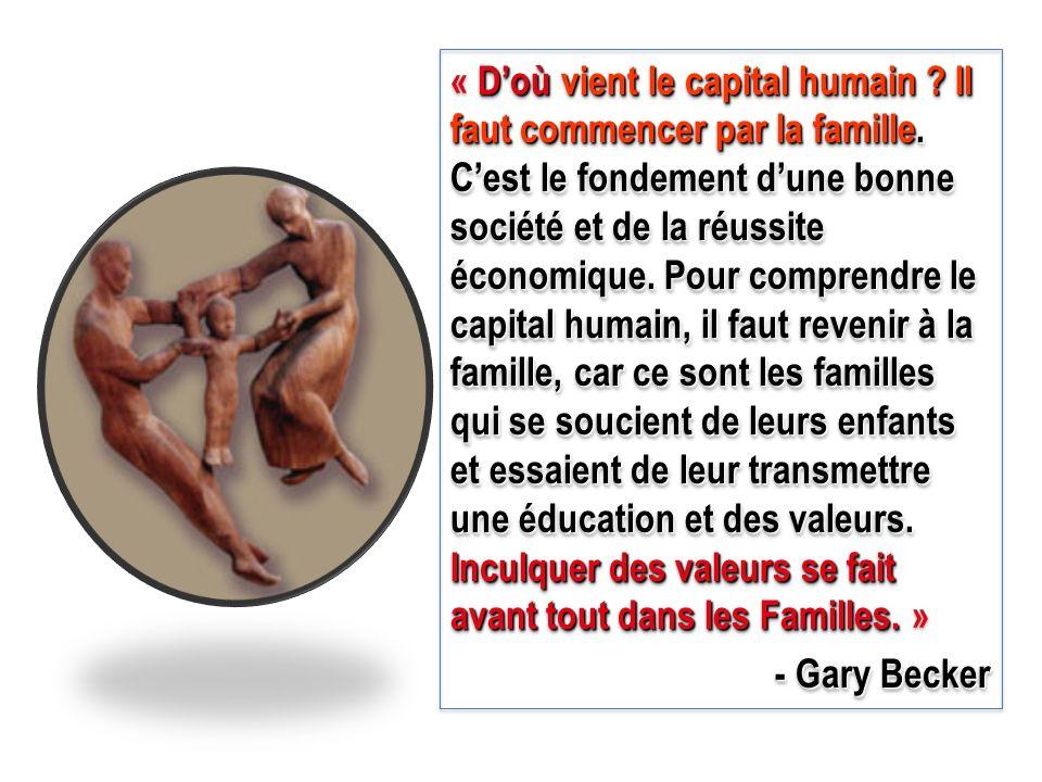 Doù vient le capital humain ? Il faut commencer par la famille. Cest le fondement dune bonne société et de la réussite économique. Pour comprendre le