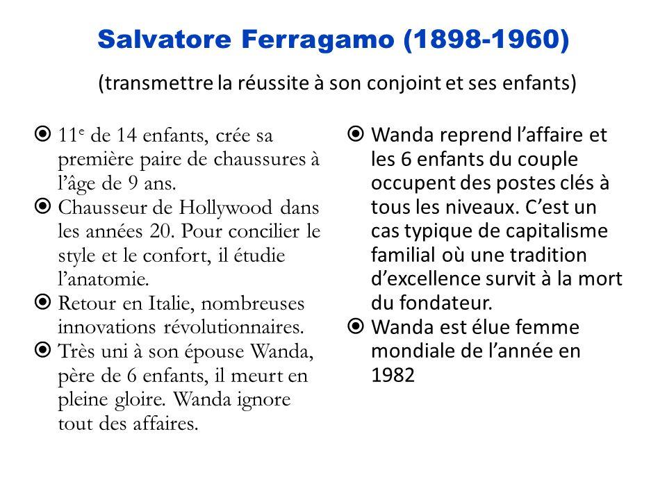 Salvatore Ferragamo (1898-1960) (transmettre la réussite à son conjoint et ses enfants) 11 e de 14 enfants, crée sa première paire de chaussures à lâge de 9 ans.