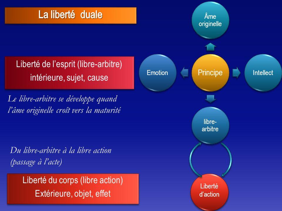 Principe Âme originelle Intellect libre- arbitre Emotion Liberté daction Le libre-arbitre se développe quand lâme originelle croît vers la maturité Du libre-arbitre à la libre action (passage à lacte)