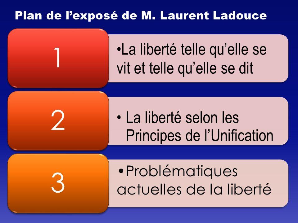La liberté telle quelle se vit et telle quelle se dit 1 La liberté selon les Principes de lUnification 2 Problématiques actuelles de la liberté 3 Plan de lexposé de M.