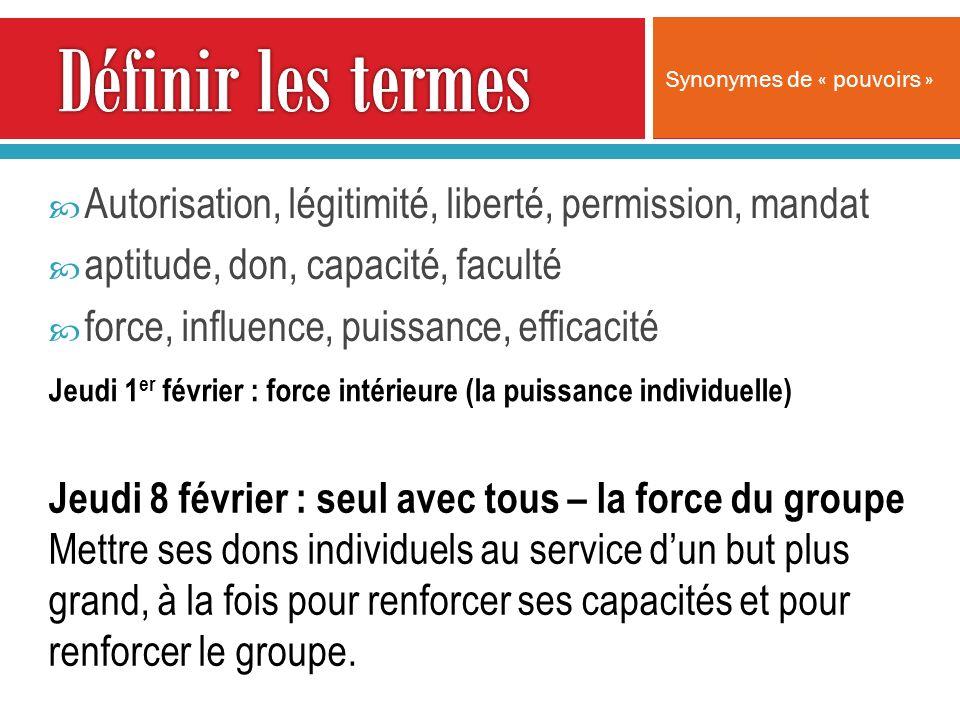Autorisation, légitimité, liberté, permission, mandat aptitude, don, capacité, faculté force, influence, puissance, efficacité Synonymes de « pouvoirs