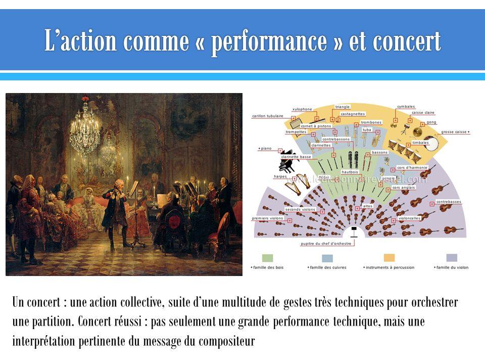 Un concert : une action collective, suite dune multitude de gestes très techniques pour orchestrer une partition. Concert réussi : pas seulement une g