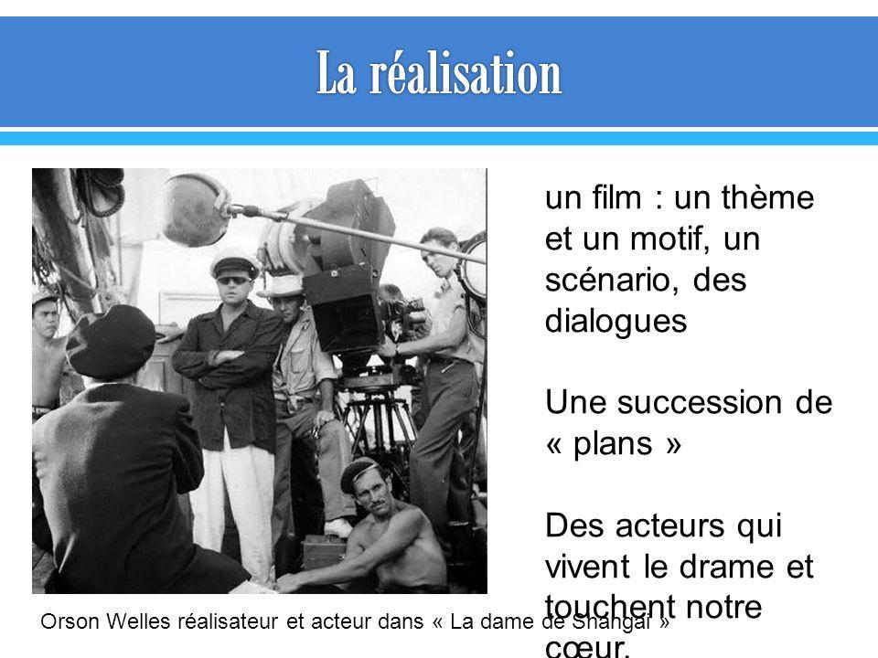 un film : un thème et un motif, un scénario, des dialogues Une succession de « plans » Des acteurs qui vivent le drame et touchent notre cœur. Orson W