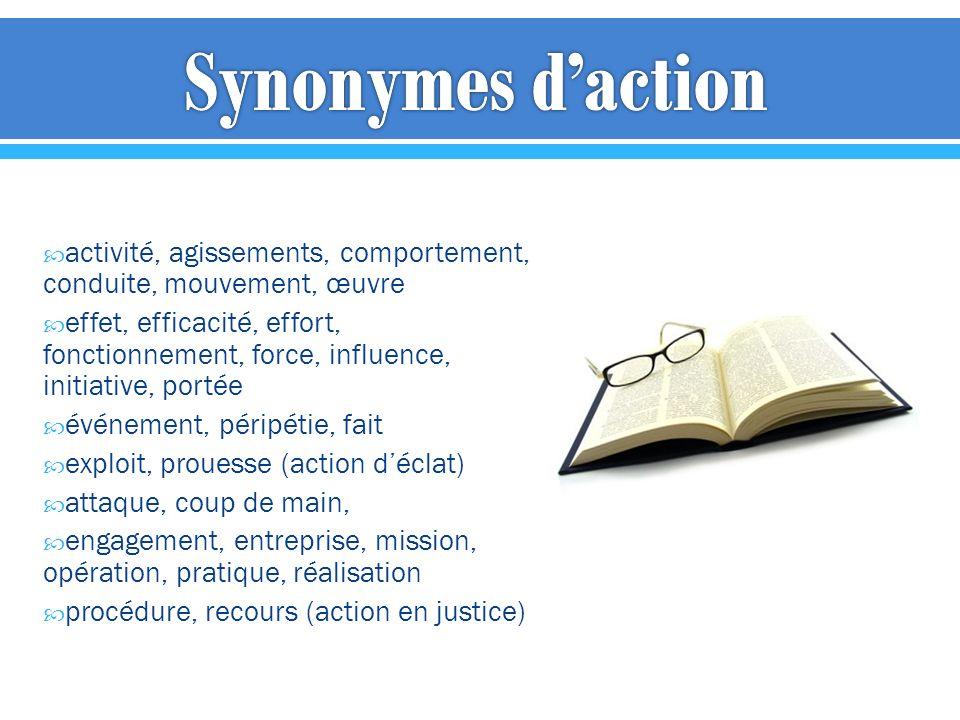 activité, agissements, comportement, conduite, mouvement, œuvre effet, efficacité, effort, fonctionnement, force, influence, initiative, portée événem