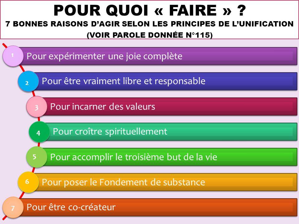 POUR QUOI « FAIRE » ? 7 BONNES RAISONS DAGIR SELON LES PRINCIPES DE LUNIFICATION (VOIR PAROLE DONNÉE N°115) Pour expérimenter une joie complète Pour ê