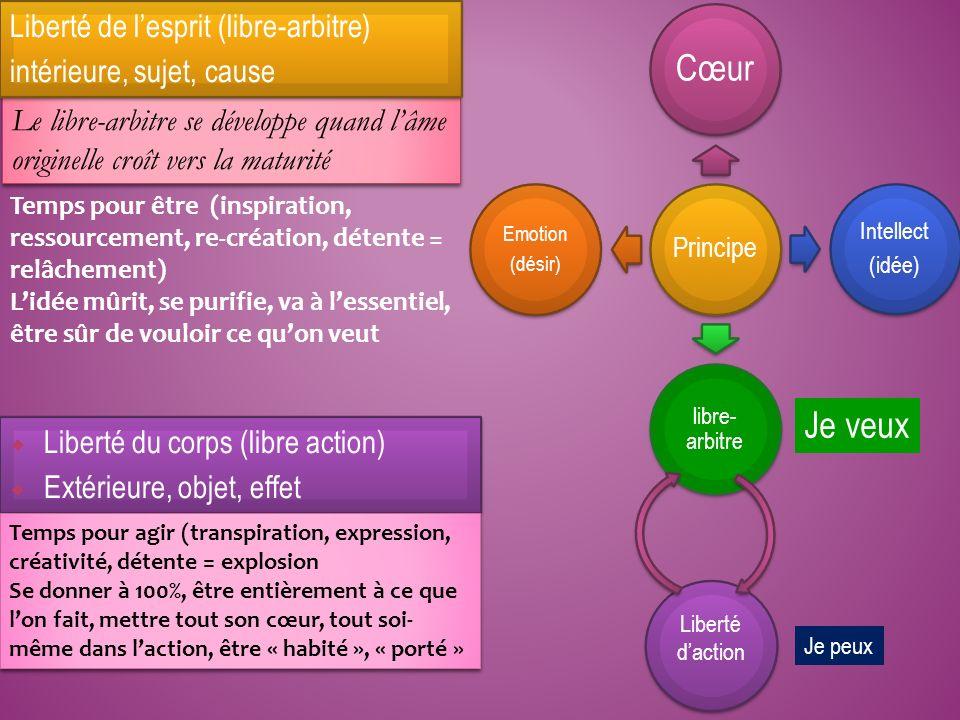 Principe Cœur Intellect (idée) libre- arbitre Emotion (désir) Liberté daction Le libre-arbitre se développe quand lâme originelle croît vers la maturi