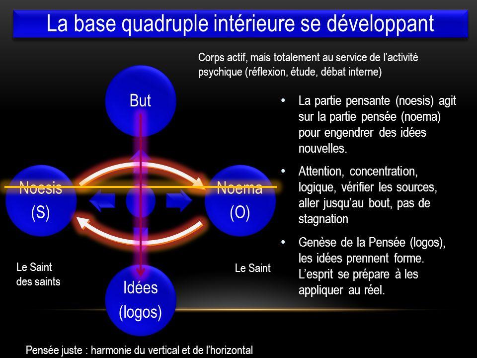 l But Noema (O) Idées (logos) Noesis (S) La partie pensante (noesis) agit sur la partie pensée (noema) pour engendrer des idées nouvelles. Attention,
