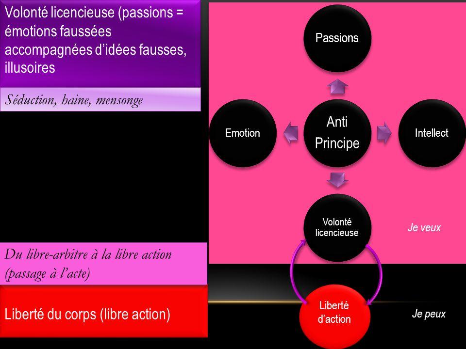 Volonté licencieuse (passions = émotions faussées accompagnées didées fausses, illusoires Anti Principe Passions Intellect Volonté licencieuse Emotion