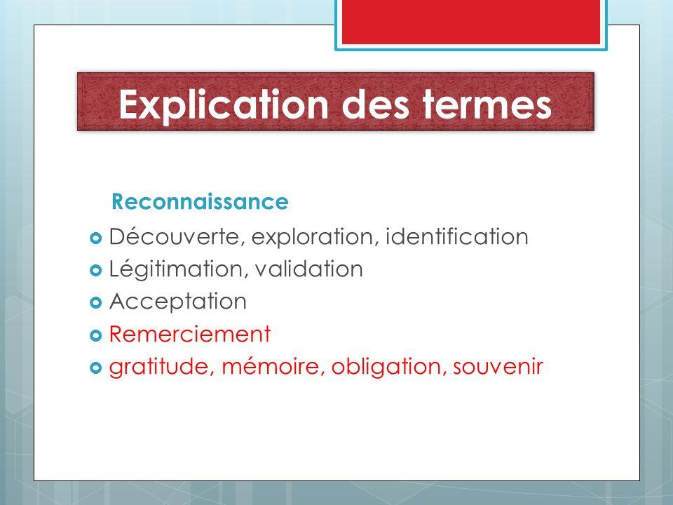 Explication des termes Reconnaissance Découverte, exploration, identification Légitimation, validation Acceptation Remerciement gratitude, mémoire, ob