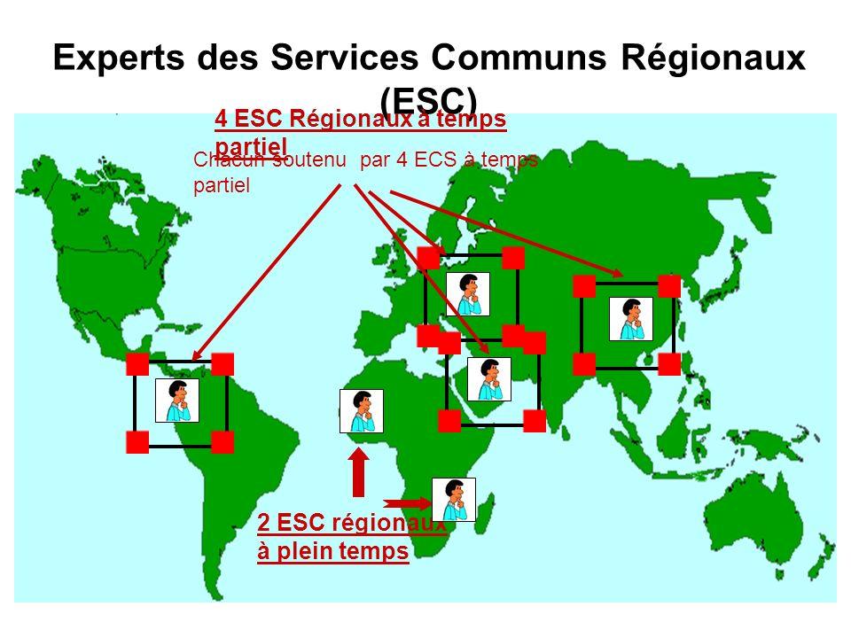 Experts des Services Communs Régionaux (ESC) 4 ESC Régionaux à temps partiel 2 ESC régionaux à plein temps Chacun soutenu par 4 ECS à temps partiel