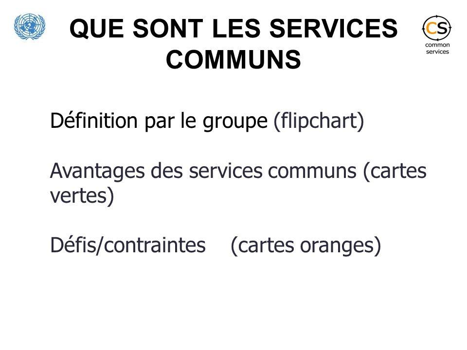 QUE SONT LES SERVICES COMMUNS Définition par le groupe (flipchart) Avantages des services communs (cartes vertes) Défis/contraintes (cartes oranges)