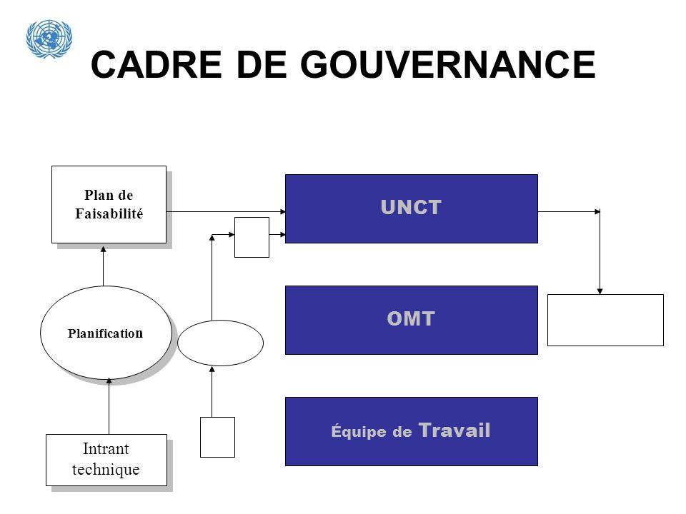 CADRE DE GOUVERNANCE UNCT Équipe de Travail OMT Plan de Faisabilité Planificatio n Intrant technique