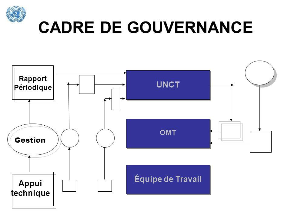 CADRE DE GOUVERNANCE UNCT Équipe de Travail OMT Rapport Périodique Gestion Appui technique
