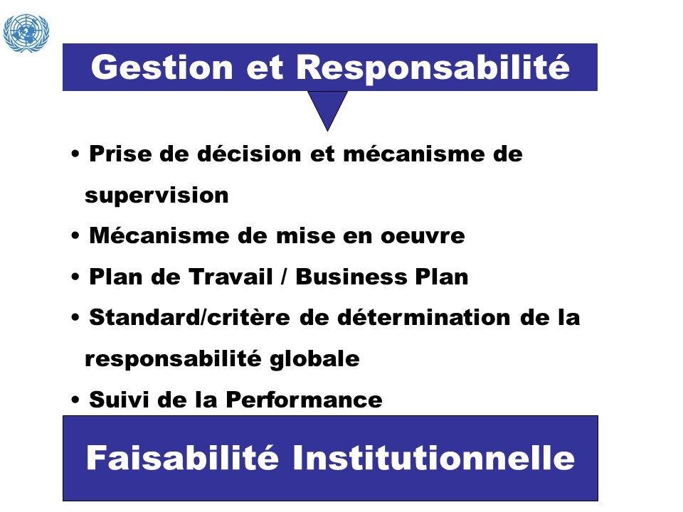 Gestion et Responsabilité Faisabilité Institutionnelle Prise de décision et mécanisme de supervision Mécanisme de mise en oeuvre Plan de Travail / Bus