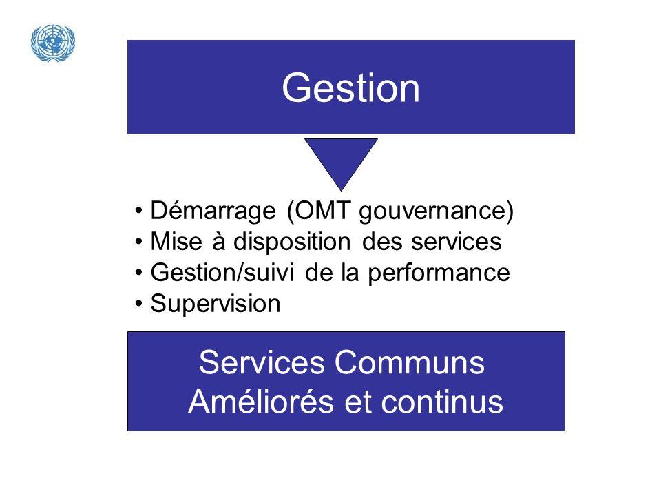 Gestion Démarrage (OMT gouvernance) Mise à disposition des services Gestion/suivi de la performance Supervision Services Communs Améliorés et continus