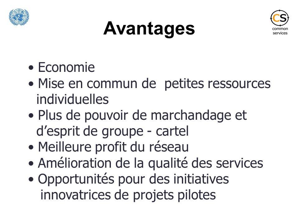 Avantages Economie Mise en commun de petites ressources individuelles Plus de pouvoir de marchandage et desprit de groupe - cartel Meilleure profit du