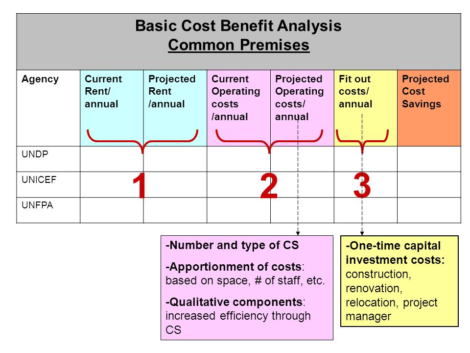 Basic Cost Benefit Analysis Common Premises AgencyCurrent Rent/ annual Projected Rent /annual Current Operating costs /annual Projected Operating cost