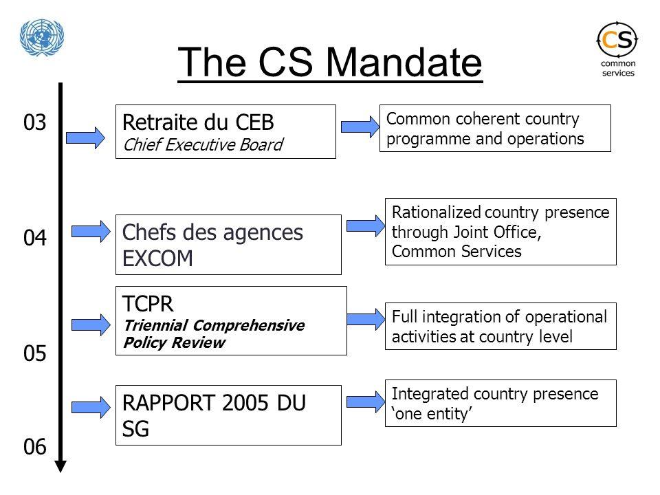 The CS Mandate 03 04 05 06 Retraite du CEB Chief Executive Board TCPR Triennial Comprehensive Policy Review RAPPORT 2005 DU SG Chefs des agences EXCOM