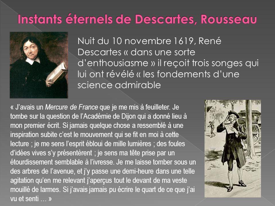 Nuit du 10 novembre 1619, René Descartes « dans une sorte denthousiasme » il reçoit trois songes qui lui ont révélé « les fondements dune science admi