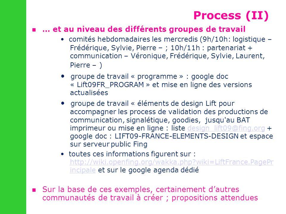 … et au niveau des différents groupes de travail comités hebdomadaires les mercredis (9h/10h: logistique – Frédérique, Sylvie, Pierre – ; 10h/11h : pa