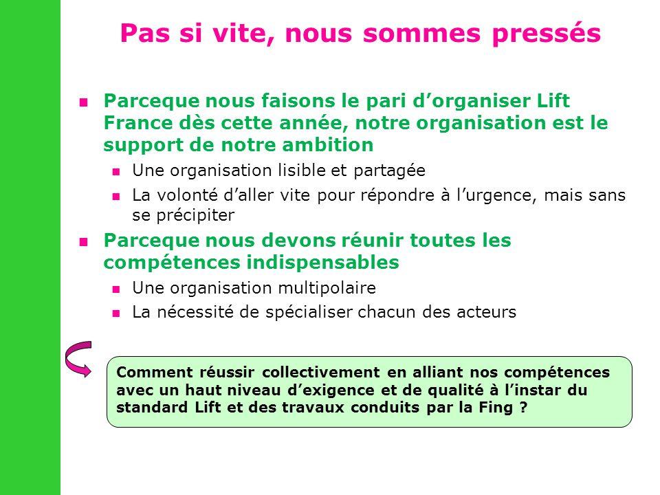 Pas si vite, nous sommes pressés Parceque nous faisons le pari dorganiser Lift France dès cette année, notre organisation est le support de notre ambi