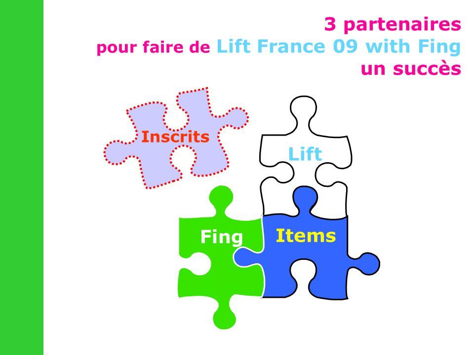3 partenaires pour faire de Lift France 09 with Fing un succès Lift Items Fing Inscrits