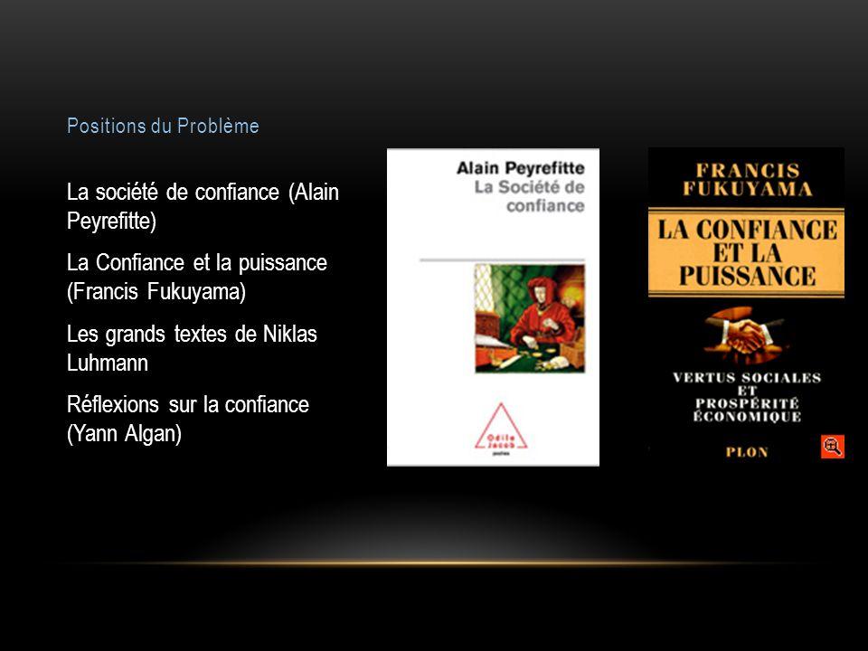 Positions du Problème La société de confiance (Alain Peyrefitte) La Confiance et la puissance (Francis Fukuyama) Les grands textes de Niklas Luhmann Réflexions sur la confiance (Yann Algan)