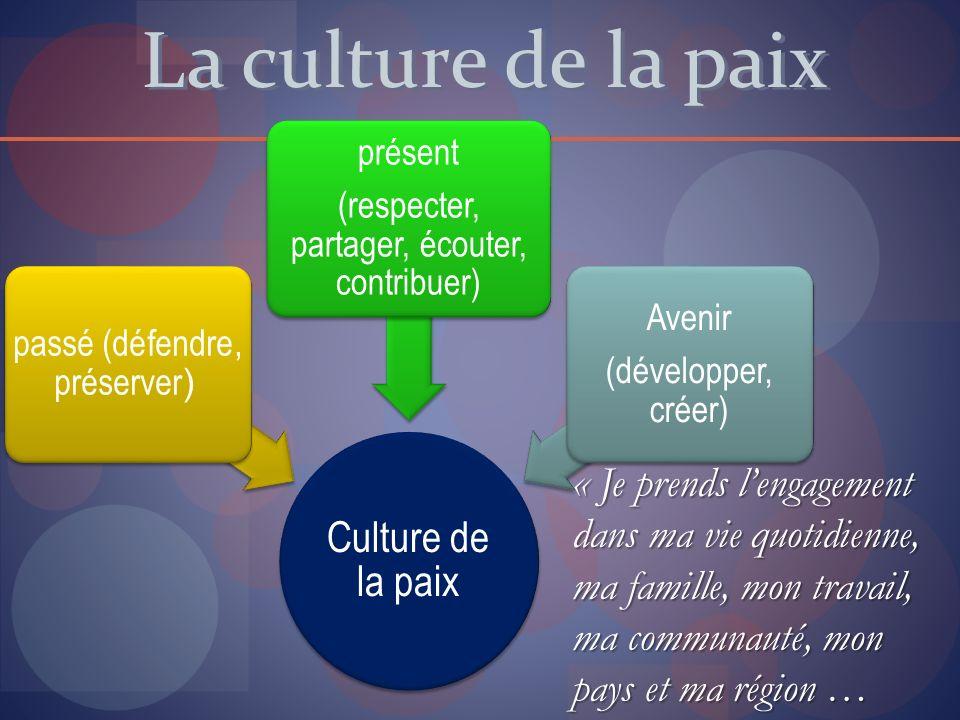 La culture de la paix « Je prends lengagement dans ma vie quotidienne, ma famille, mon travail, ma communauté, mon pays et ma région … Culture de la p