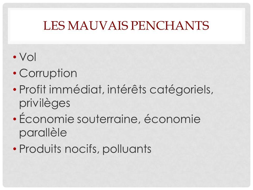 LES MAUVAIS PENCHANTS Vol Corruption Profit immédiat, intérêts catégoriels, privilèges Économie souterraine, économie parallèle Produits nocifs, polluants