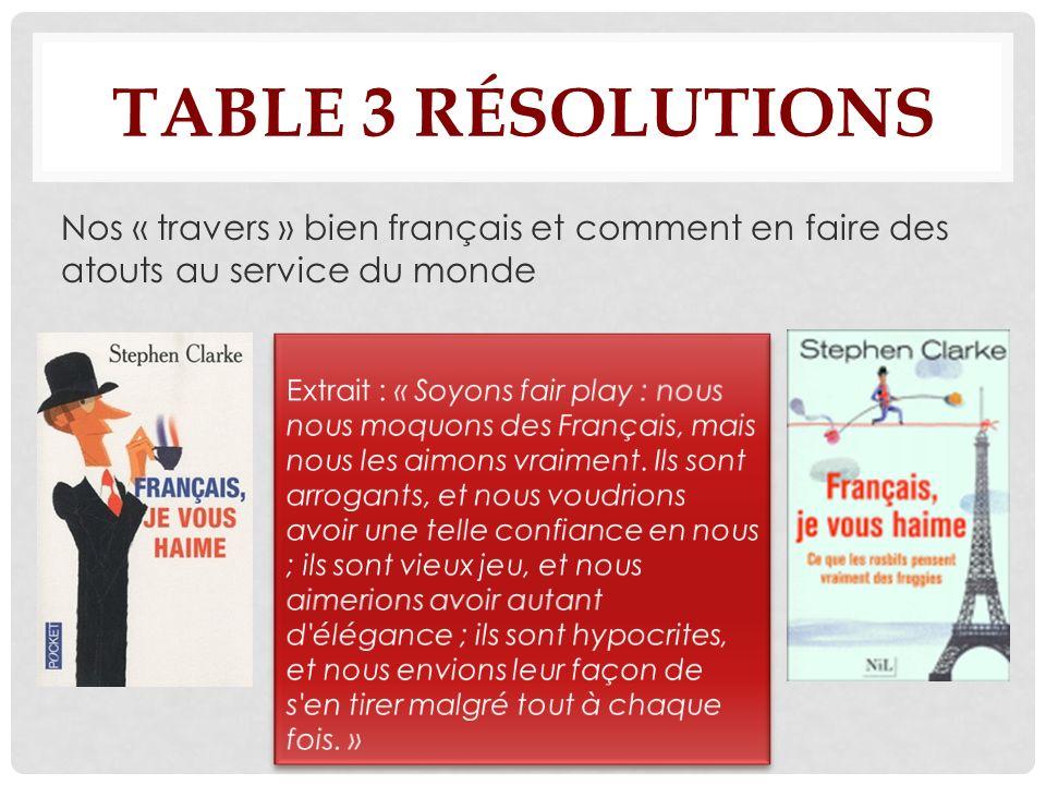 TABLE 3 RÉSOLUTIONS Nos « travers » bien français et comment en faire des atouts au service du monde