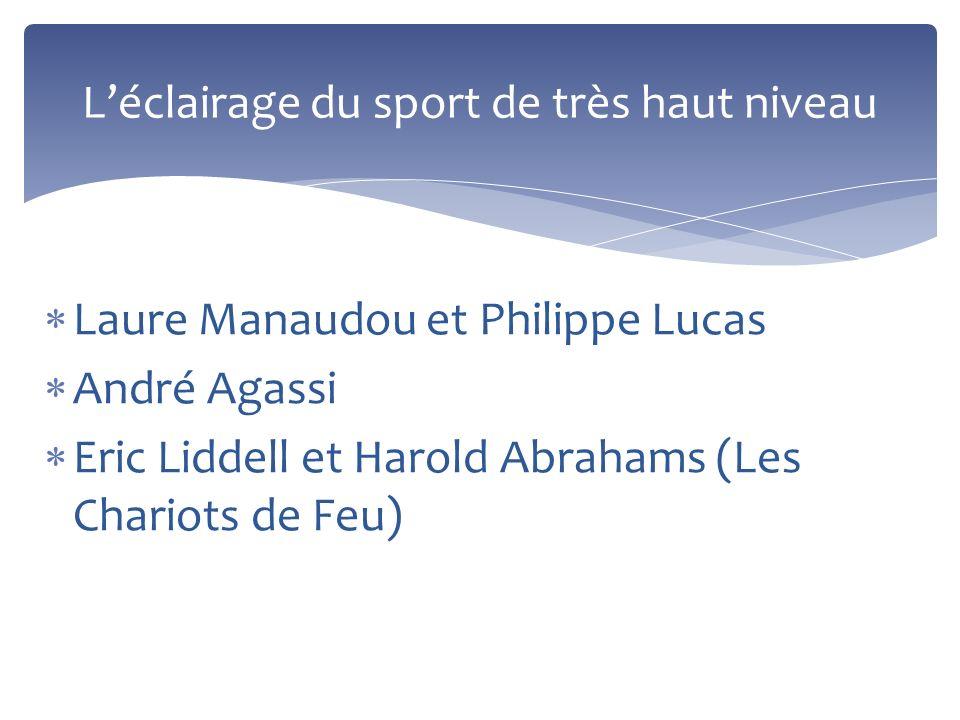 Laure Manaudou et Philippe Lucas André Agassi Eric Liddell et Harold Abrahams (Les Chariots de Feu) Léclairage du sport de très haut niveau