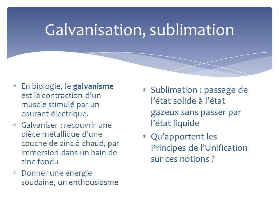 Galvanisation, sublimation En biologie, le galvanisme est la contraction d'un muscle stimulé par un courant électrique. Galvaniser : recouvrir une piè
