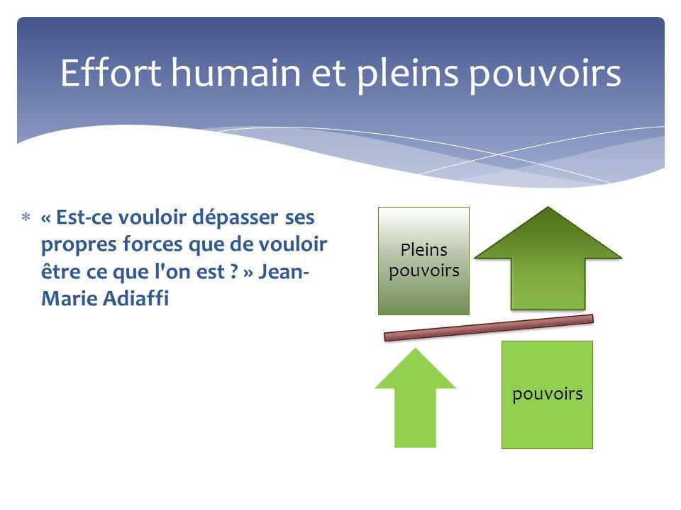 Effort humain et pleins pouvoirs « Est-ce vouloir dépasser ses propres forces que de vouloir être ce que l'on est ? » Jean- Marie Adiaffi Pleins pouvo