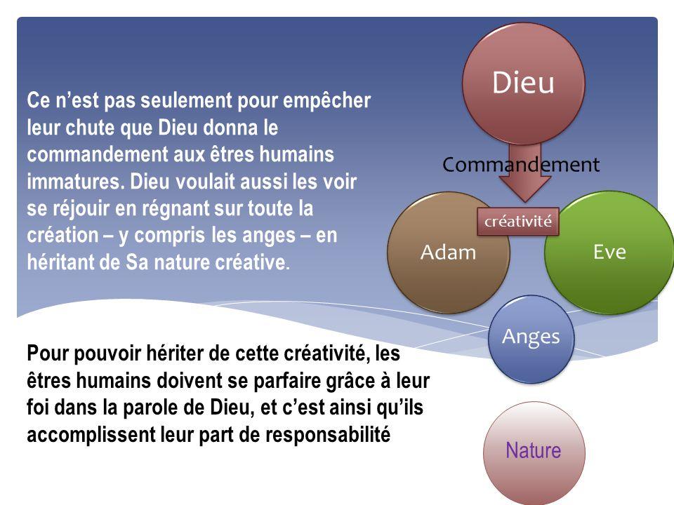 Adam Dieu Eve Anges Commandement Nature créativité Ce nest pas seulement pour empêcher leur chute que Dieu donna le commandement aux êtres humains imm