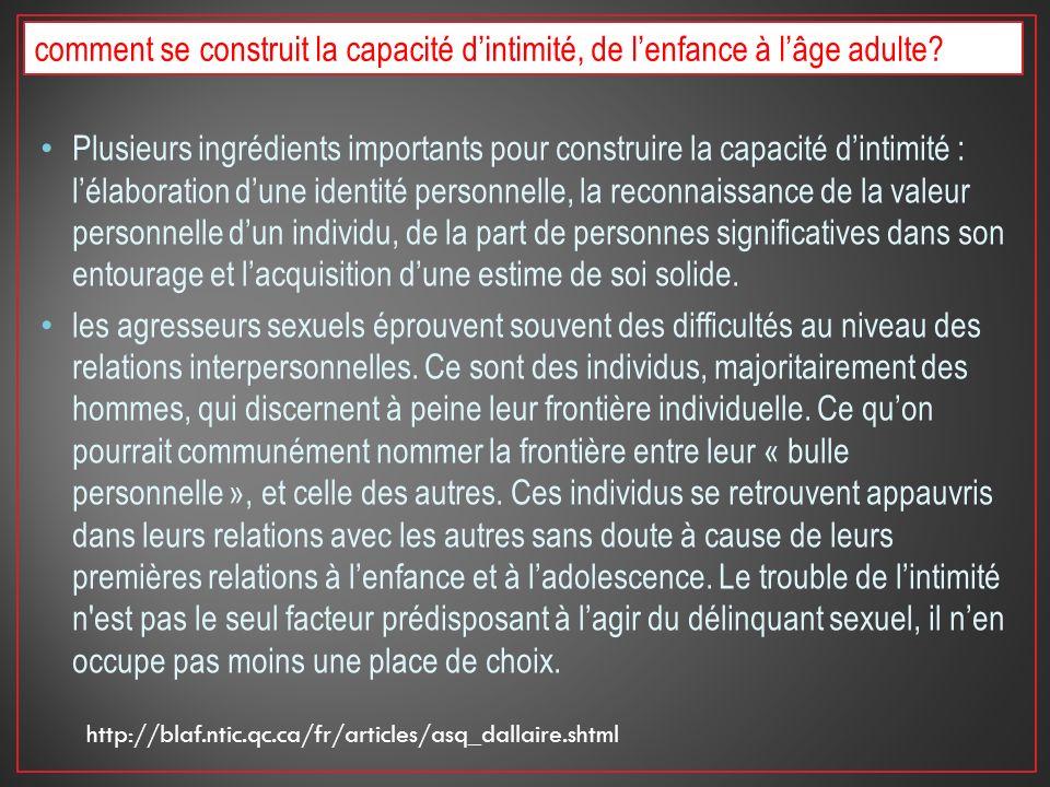 Plusieurs ingrédients importants pour construire la capacité dintimité : lélaboration dune identité personnelle, la reconnaissance de la valeur person