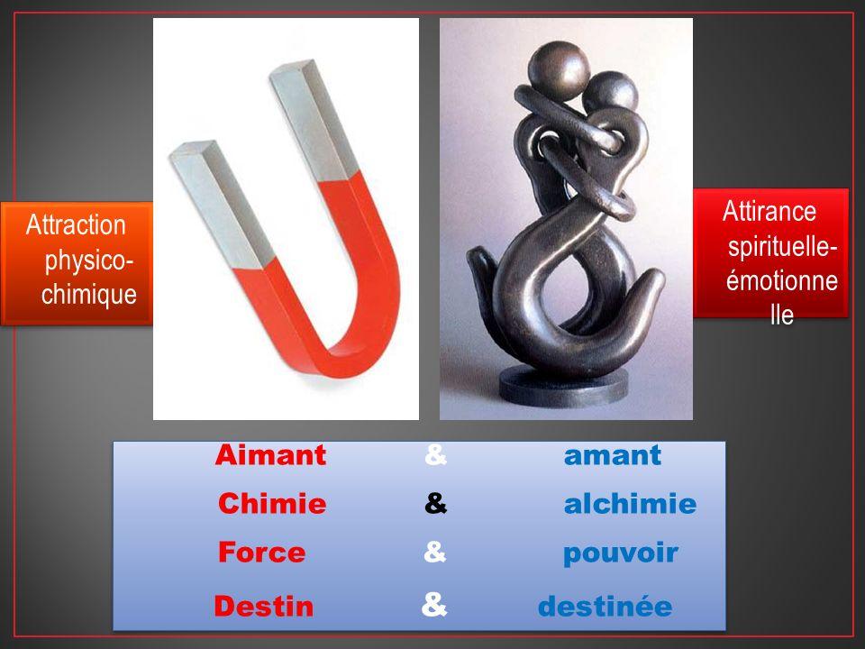 Attraction physico- chimique Attirance spirituelle- émotionne lle Aimant & amant Chimie & alchimie Force & pouvoir Destin & destinée Aimant & amant Ch