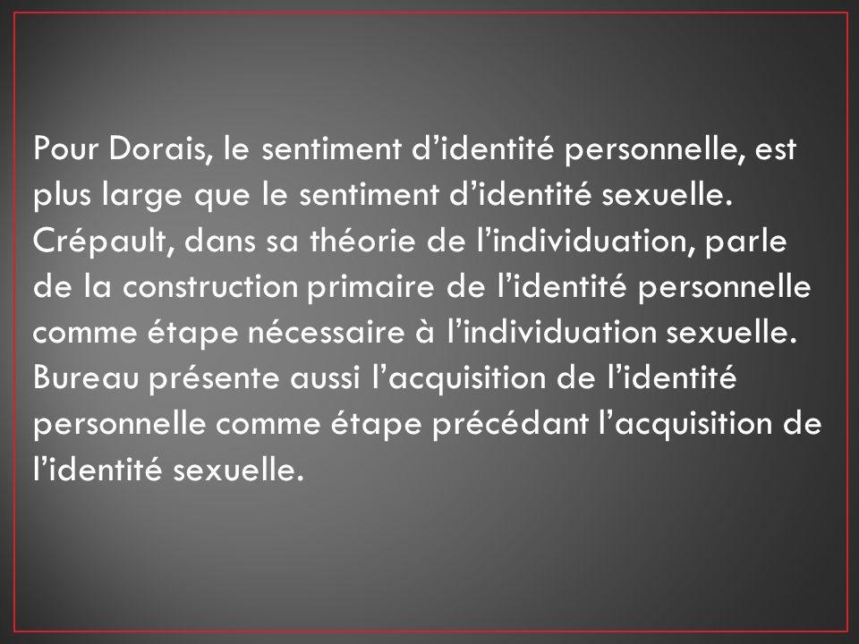 Pour Dorais, le sentiment didentité personnelle, est plus large que le sentiment didentité sexuelle. Crépault, dans sa théorie de lindividuation, parl