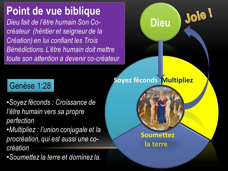 Point de vue biblique Dieu fait de lêtre humain Son Co- créateur (héritier et seigneur de la Création) en lui confiant les Trois Bénédictions. Lêtre h