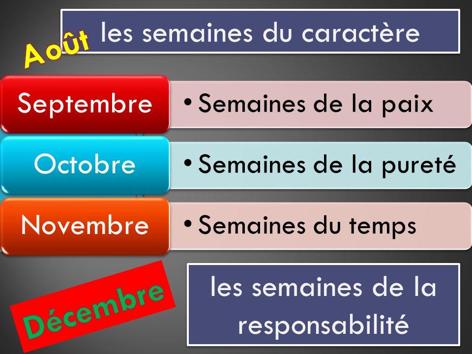 les semaines du caractère Semaines de la paix Septembre Semaines de la pureté Octobre Semaines du temps Novembre les semaines de la responsabilité